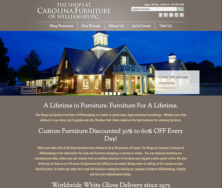 Carolina Furniture Web Design Completed in Norfolk by The Primm Company