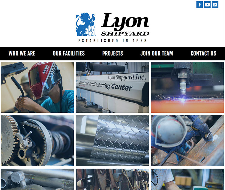 Lyons Shipyard Website Design in Norfolk Virginia by The Primm Company