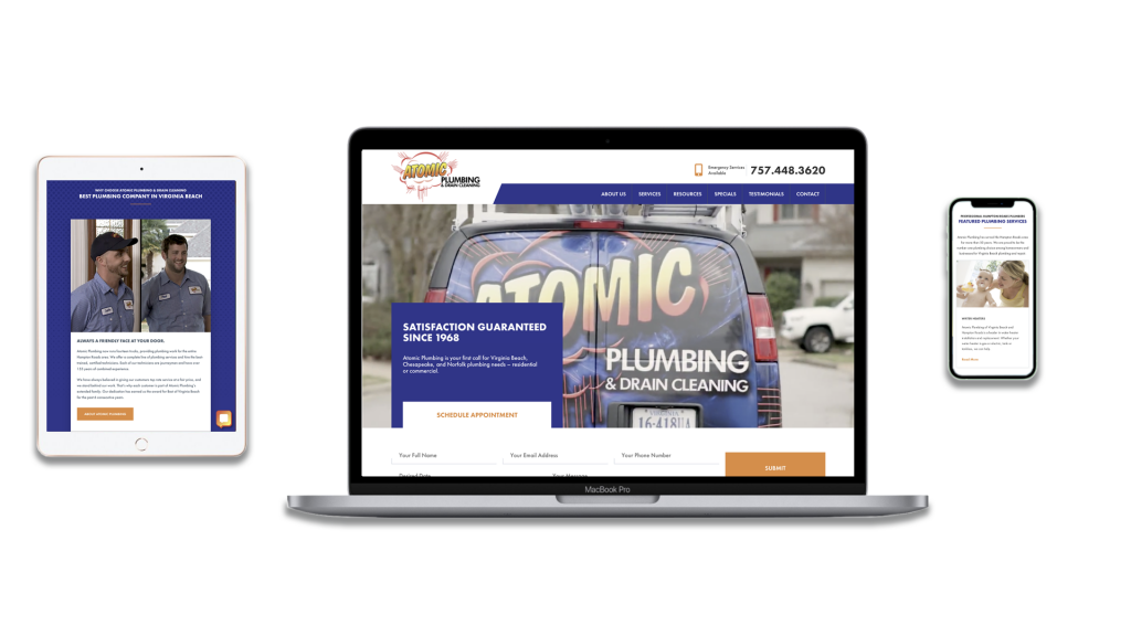 Graphic displaying Atomic Plumbing website on desktop, mobile, and tablet.